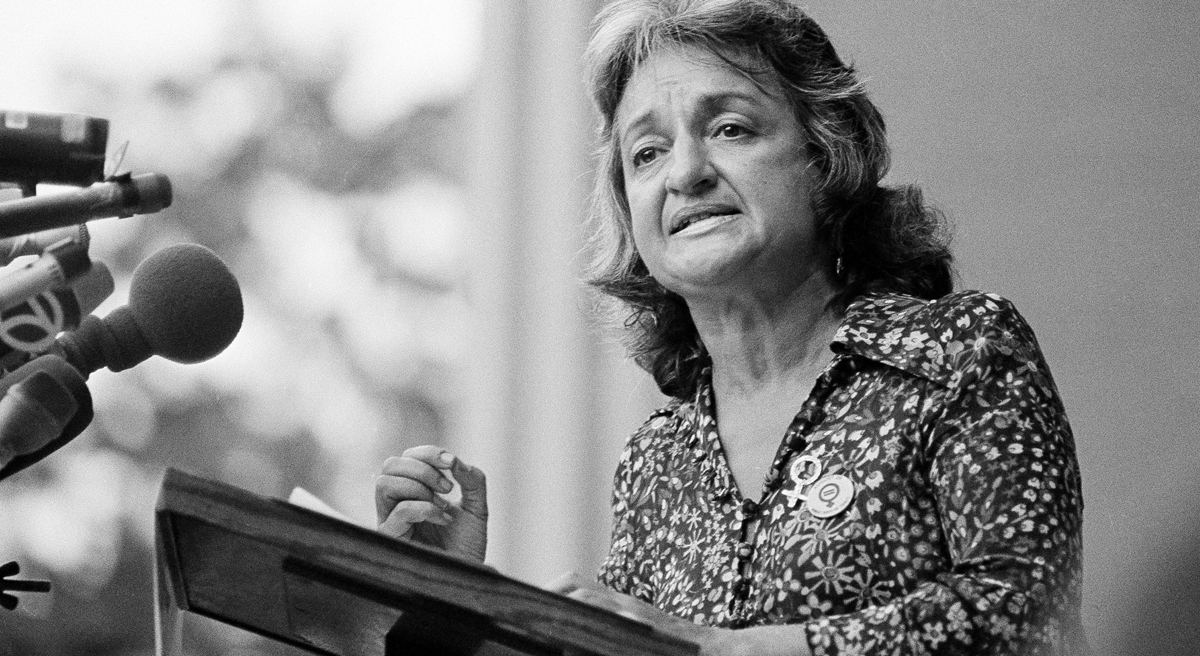 "Betty Friedan, co-founder of National Organization for Women (NOW), speaks during the Women's Stirke for Eqality event in New York's Central Park on Aug. 26, 1970, the 50th anniversary of woman suffrage.  Some 5,000 marchers paraded up Fifth Avenue in the women's march for equality.  Friedan, whose manifesto ""The Feminine Mystique"" became a best seller in the 1960s and laid the groundwork for the modern feminist movement, died Saturday, Feb. 4, 2006 her birthday. She was 85.  (AP Photo)"
